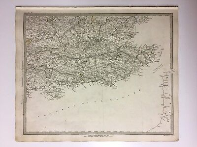 Vintage Original 1845 Topographic Map 'England-South East' London, Isle Of Wight