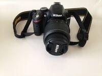 Nikon D3200 Digital SLR Camera with 18-55mm VBlack (24.2MP) plus Case Logic carry case & all cables