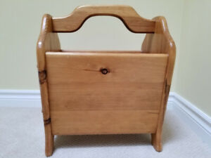 Solid Pine Antique Crafted Magazine Rack Custom Made.