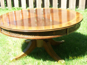 beautiful round wood table, antique, coffee table,  3 ft. round