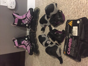 Youth roller blades and protective gear