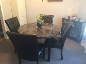 Marble Kitchen table, chairs, and hutch
