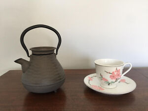 Cast Iron Teapot and Vintage Chinese Teacup.