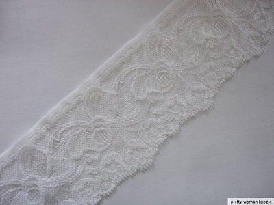 3 Lfm breite elastische Spitze 1,59€/m weiß 6,5cm breit TA76