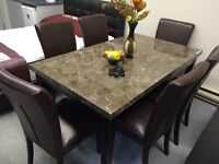 NEW STYLE 7 pcs Set Dining Table Leather chairs