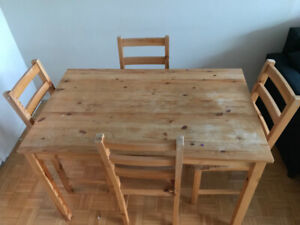 Solid wood table with 4 piece chair set, good condition