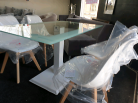 NEW Modern Dining Table + 4 Scandi Chairs White DELIVERY AVAILABLE