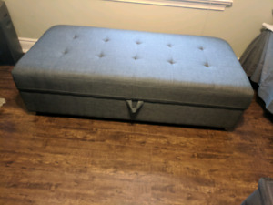Large grey ottoman with storage