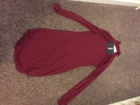 Curve hem roll neck bodycon dress burgundy FOR SALE