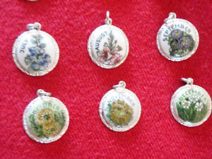 12 Monthly Flower Charms, One for each Month