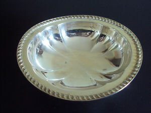"Vintage silver plated nut/candy dish 6 ¾"" x 2 ¼"" high"
