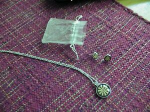Dart board pendant necklace and matching earrings-NEW