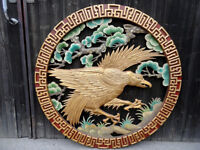 Chinese Phoenix Wood Wall Carving Hanging Restaurant Decor Vintage picture