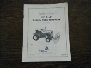 "Allis Chalmers 36"" & 42"" Snow Throwers April 72 Owners  Manual"