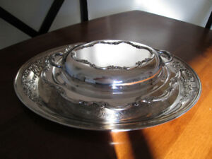 Set of Silver Plated Oval Tray and Oval Dish With Cover.