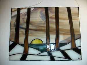 stained glass suncatcher winter landscape