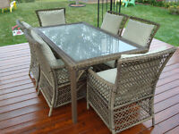 Outdoor Wicker Patio Furniture Set with Cushions and cover.