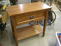 1920s OAK UTILITY LAMP TABLE WITH DRAWER $50.00 EXCELLENT