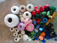 bag full of fine cotton yarn, large selection of colors
