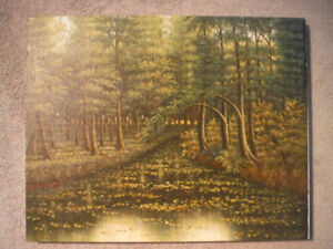 16X20Oil on Canvas Painting of a Creek through Evergreen Forest