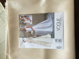 Wedding dress pattern and fabric for sale. Champagne taffeta.