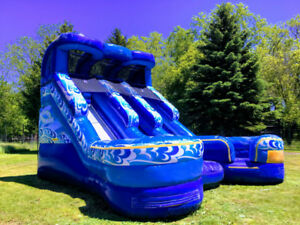 Double the fun with Huge Double Splash Inflatable Slide!