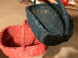 Large coloured wicker baskets