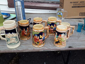 COLLECTION OF 7 GERMAN BEER MUGS ALL FOR $29.00