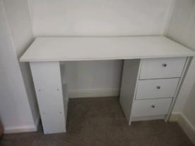 Argos White X3 Drawer Desk and X3 shelf