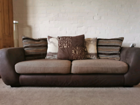 Brown fabric sofa - matching set of two