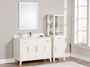 "Contemporary Shaker styled 37, 49 or 61"" Vanity in Walnut or Dove White finish"