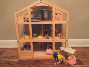 Fully Furnished Wooden Dollhouse with Doll Family & Car