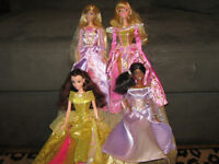 4 Gorgeous Barbies in Stunning Gowns-Mint Condition!