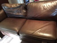M&S brown leather couch for sale
