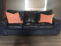 MUST COLLECT TODAY! Great 3 seater and 1 swather leather sofas. Dark blue £65ono