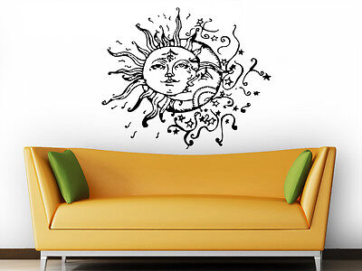 Sun and Moon Wall Decal Crescent Dual Ethnic Stars Night Symbol Boho Decor ZX2 - Stars And Moon Decorations