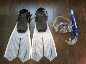 U.S. Divers Lux Platinum Splitflex Snorkel Set