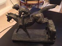 Horse and jockey table statue
