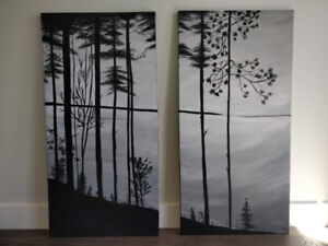 Two custom paintings on gallery wrapped canvas.