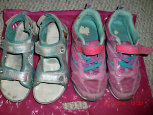 Size 3 Youth Girls Running Shoes and Frozen Sandals