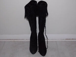 Trendy Black Suede Fringe Knee High Lace Up Boots