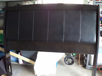 Queen/Double Headboard Expresso Color with Leather Center