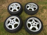 "Porsche Cup1 17"" Replica Alloy Wheels complete with tyres."