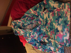 Pink blue and white camo pack up wind breaker
