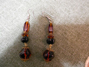 Vintage Amber Dangle Earrings