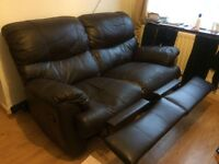 Brown leather FULLY RECLINER Sofa 3+2