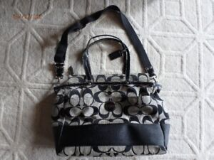 Coach Signature Print Diaper Bag  Black Like NEW