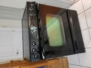 "Maytag black 30"" electric glass ceramic top stove convection"