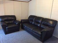 3 & 1 harveys luxury black leather sofa set - can deliver