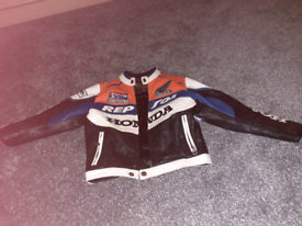 Real leather childs motorbike jacket